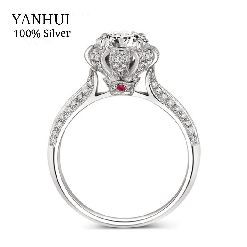 Luxury 100% Real Solid Silver Ring Inlay Natural Ruby Ring Gift Jewelry 7.5mm CZ Diamond Engagement Wedding Rings For Women R046(China (Mainland))