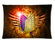 Custom Attack on Titan Soft Fashion Style Cotton Linen Decorative Suitbale Single Pillow Case Size 40x60cm(Twin Sides) U06-11