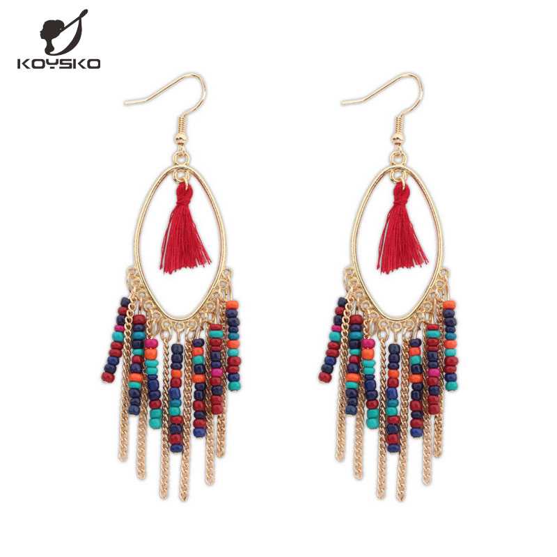 Bohemian Dangle Earrings Exaggerated Personality Beads Tassel Long Section Of Female Accessories Manufacturers Jewelry Wholesale(China (Mainland))