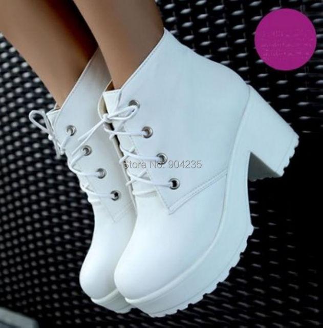 New Fashion Black&White Punk Rock Lace Up Platform Heels  Ankle Boots thick heel platform shoes