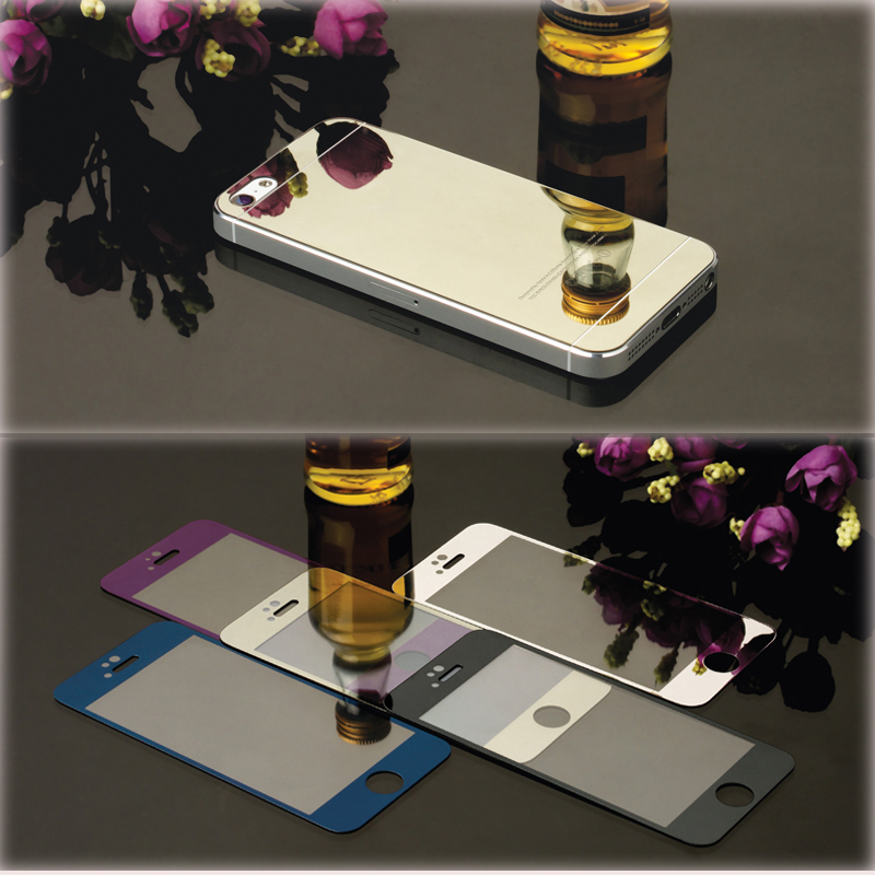 2pcs/lot Front+Back Full Cover Screen Protector For iPhone 5s 5 SE For Apple Color Mirror Effect Tempered Glass Protective Film(China (Mainland))