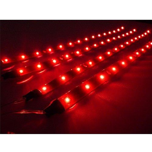 USA Stock! 4x 30cm LED Car Flexible Waterproof Light Strip Red(China (Mainland))
