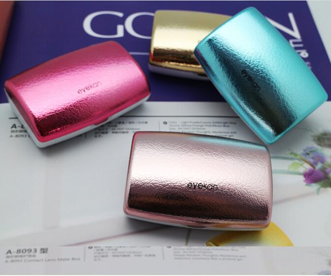 Nueva eyekan caja de lente de contacto de lujo para las mujeres duro caja de lentes para gafas con espejo gafas accesorios