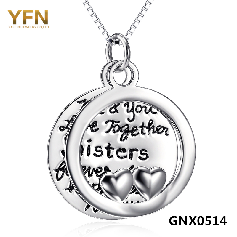GNX0514 100% Real Pure 925 Sterling Silver Necklace For Sisters Love Jewelry Heart Necklaces & Pendants Fashion Jewelry(China (Mainland))