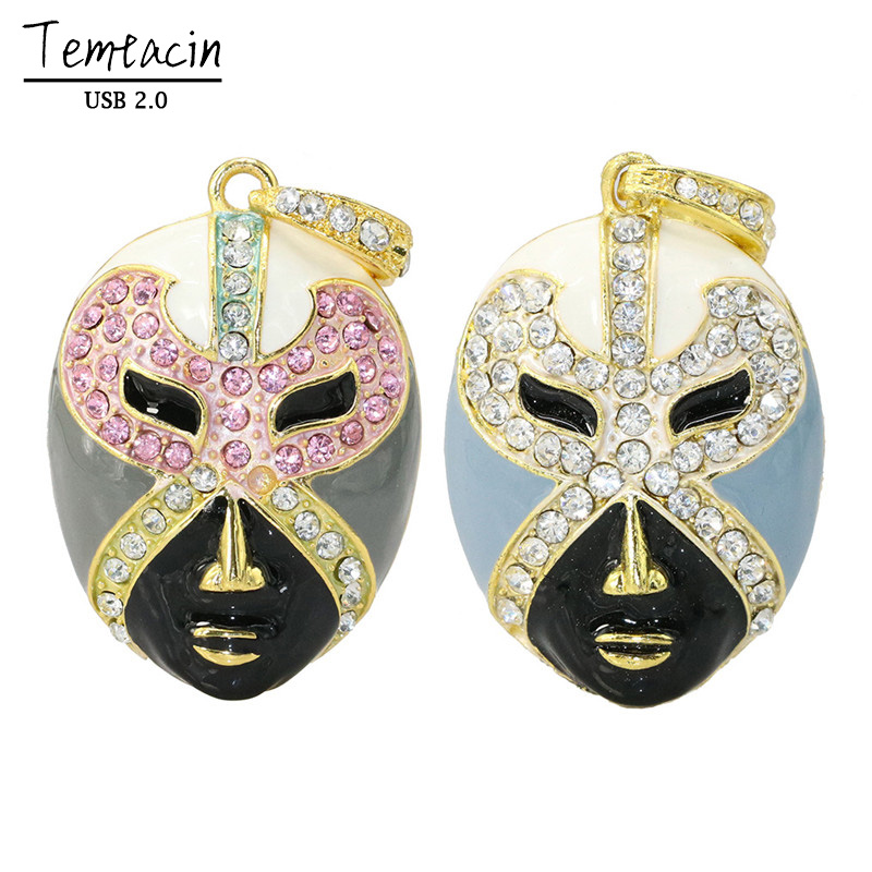 Funny Metal Keychain Opera Mask USB Flash Drive Disk Memory Stick Pen Drive Personalized Mini PC Gift PenDrive 4GB 8GB 16GB 32GB(China (Mainland))