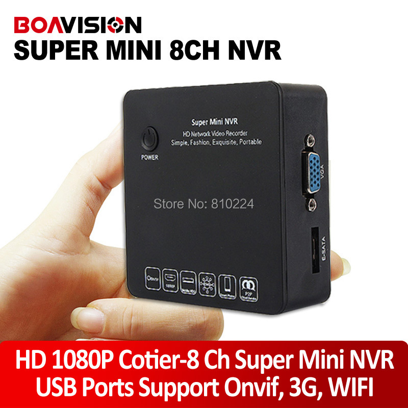 8CH Home Security Mini Onvif NVR Portable HD 1080P/720p P2P Network Video Recorder Support 3G Wifi Audio Input 15 languages view(China (Mainland))