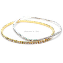 Buy 1 Pc Clear Crystal Silver Gold Color Stretch Anklet Foot Chain Ankle Bracelet Bangle Women Beach Jewelry Adjustable for $1.31 in AliExpress store