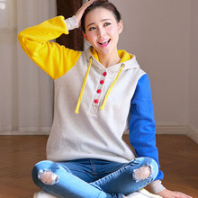 New 2015 Hoodie Sweet Girl Blusas Feminina Colored Patchwork Sweetshirt Coat Women Blouse Long Sleeve High Quality High Quanlity(China (Mainland))