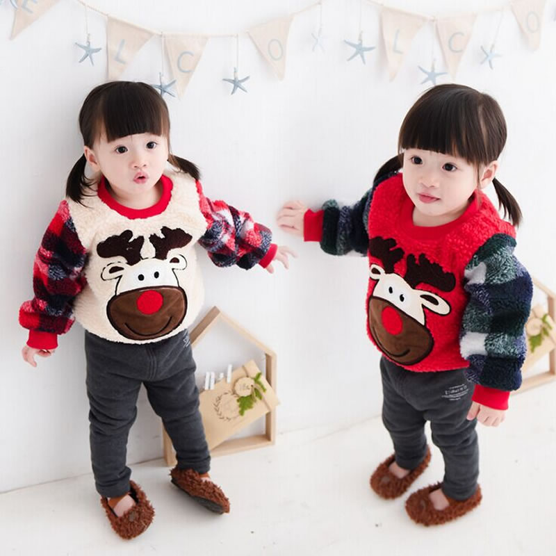 2016 Next Winter Christmas Deer Girls Sweatshirts Cute Warm Kids Clothes Cartoon Baby Girl Clothing Fleece Sweatshirt For 2-7Y(China (Mainland))