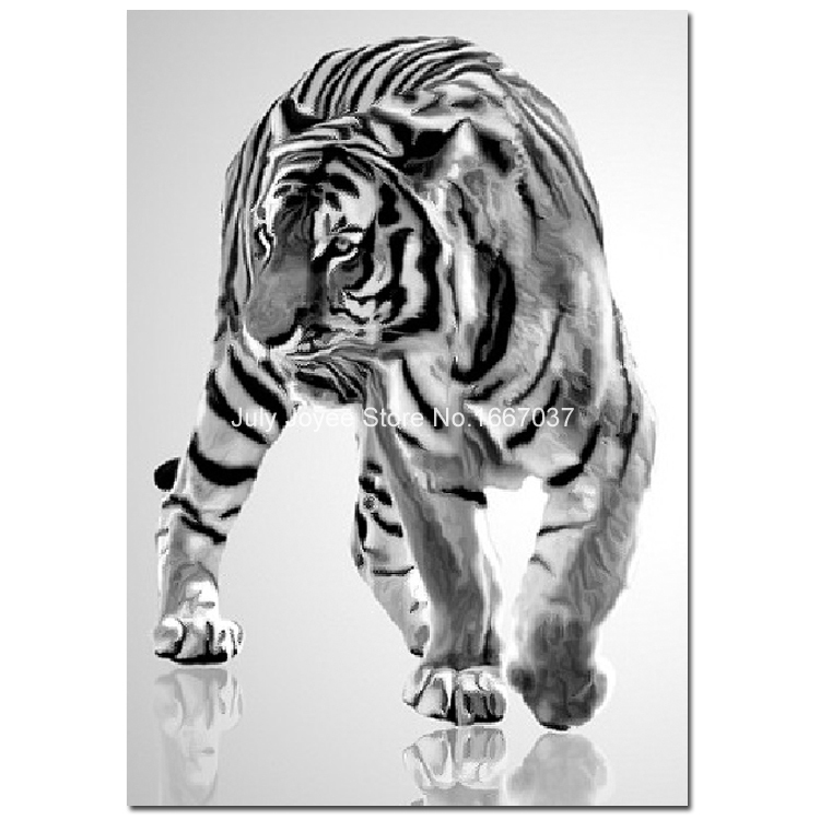 Black and white striped tiger Diamond embroidery animal Rhinestones painting tiger DIY Mosaic picture 2015 new Home decoration(China (Mainland))