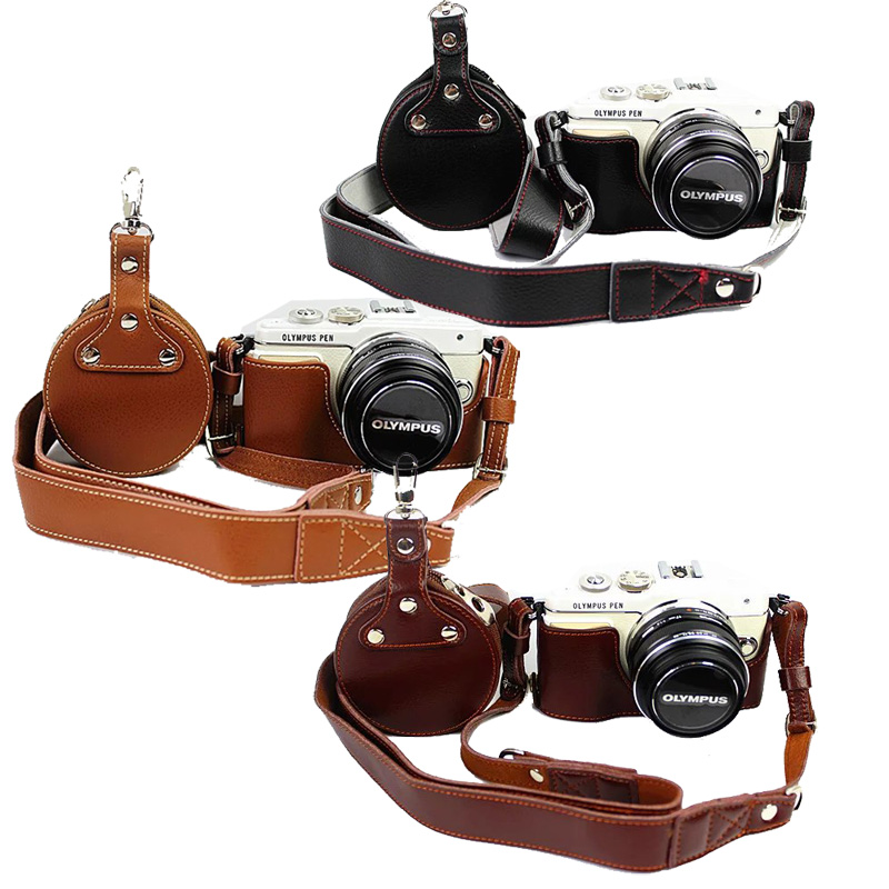 Genuine Leather Camera Bag Half Case For Olympus EPL7 E-PL7 Real Leather Half Body +Genuine Strap+ Mini Case(China (Mainland))