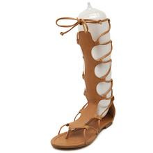 2016 Women Sandals Summer Flats Sexy Knee High Boots Gladiator Sandals Women Casual Flats Shoes Designer Free Shipping