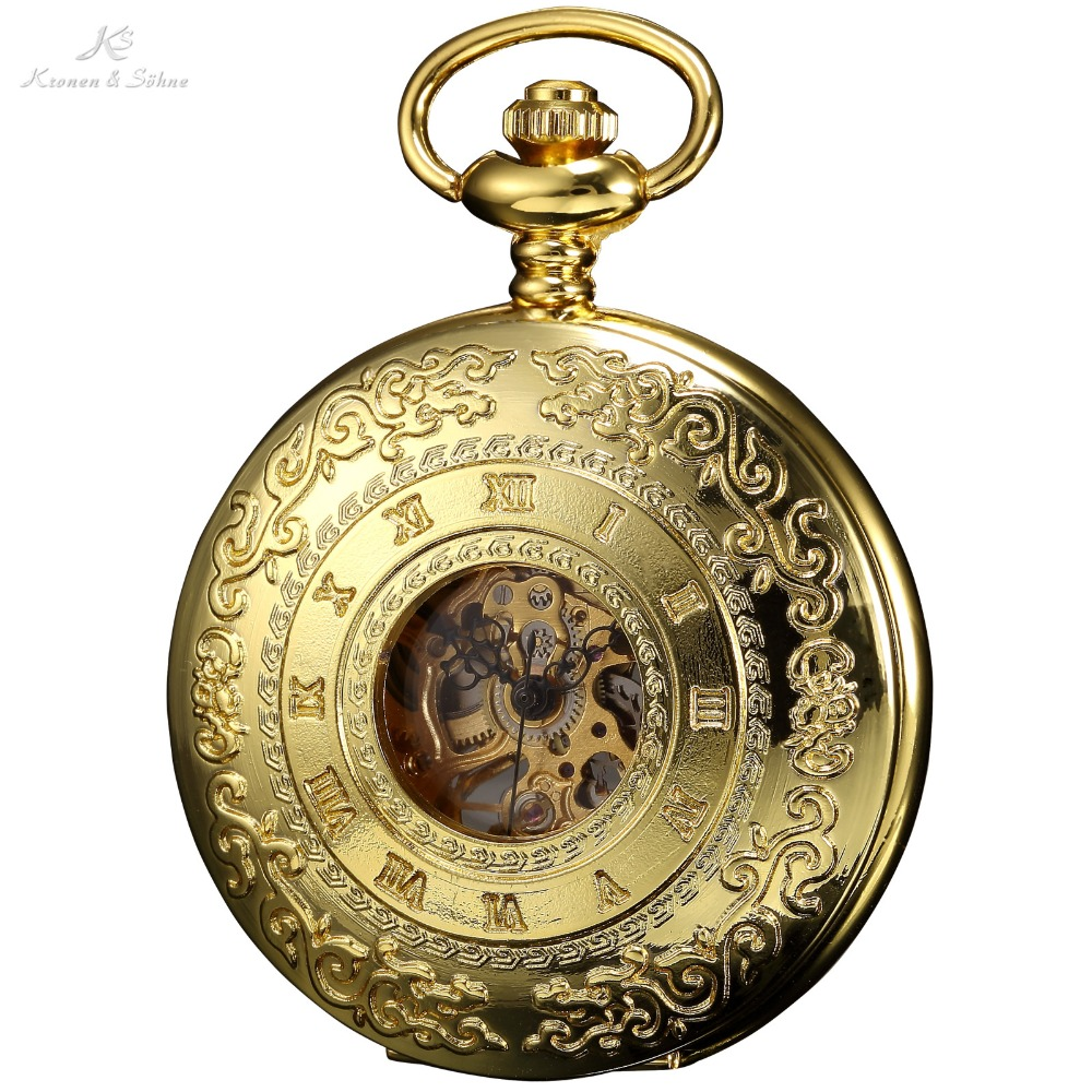 KS Retro Skeleton Alloy Golden Case Copper Key Style Roman Dial Luxury Case Clock Mechanical Hand