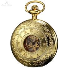 KS Retro Skeleton Alloy Golden Case Copper Key Style Roman Dial Luxury Case Clock Mechanical Hand Wind Pocket Watch Men / KSP045