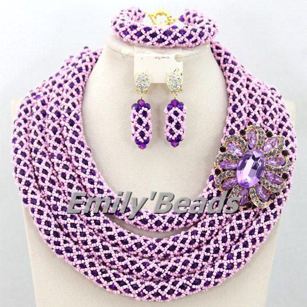 Nigerian Wedding African Crystal Handmade Weave Jewelry Sets African ...