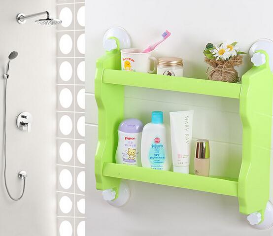 Vacuum chunk bathroom storage shelf, bathroom shelf,double layer. Bathroom tool(China (Mainland))