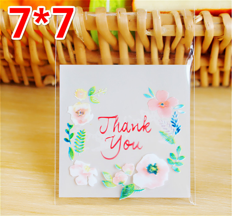 100PCS/Lot Cute Fresh Flower Chocolate Cookies Cake Pops Packaging Bag For Kids Gifts Biscuits Candy Plastic Bags Wedding Favor(China (Mainland))