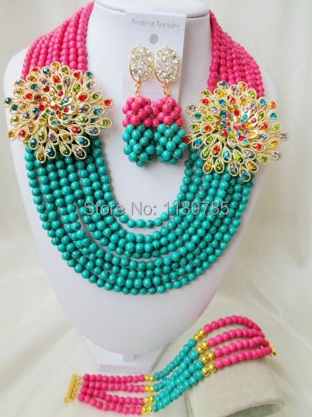 Fashion Nigerian African Wedding Beads Jewelry Set , Stone Necklace Bracelet Earrings Set A-8539<br><br>Aliexpress