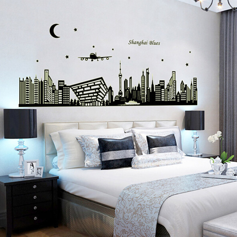 Fluorescence European Building City Wall Sticker Bedroom Sofa Backgound Decoration Wall Poster Wallpaper TB Sale(China (Mainland))
