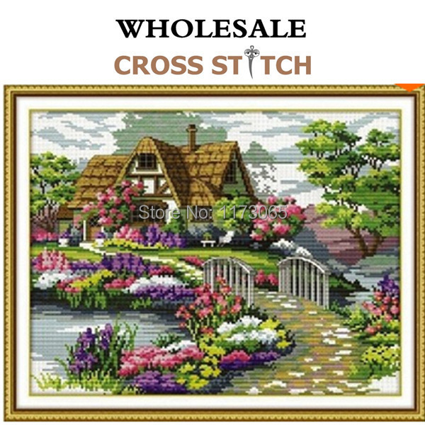 Needlework,DIY DMC Cross stitch,Sets For Embroidery kits,scenery clock home decro  Counted Cross-Stitching,factory direct sale(China (Mainland))