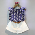 New 2016 girl set children summer casual wear floral sleeveless T shirt shorts suit cotton clothing
