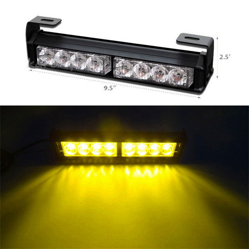 Super Bright!!! 8LED Grille Strobe Light Amber Automobiles Flashing Beacons Emergency Warning Light 12V+Fit All Car(China (Mainland))