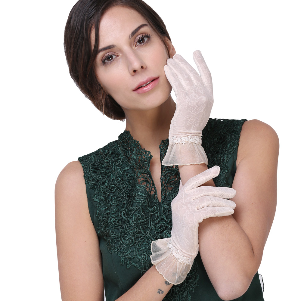 Mandy's sun protection gloves lovely summer short resist ultraviolet light fingers touch screen design is prevented bask gloves(China (Mainland))