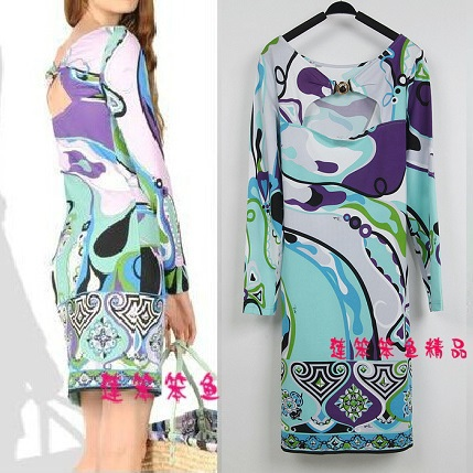 Free shipping 2014 New Arrival fashion dress Major suit Elegant Classic printing stretch knit backless dress real silk dressepucÎäåæäà è àêñåññóàðû<br><br>