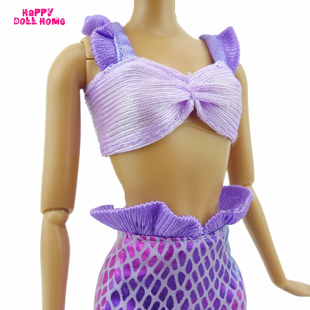 Free Delivery Handmade  Dolls Celebration Gown Robe Skirt  For Barbie doll fantasy Mermaid costume doll garments Child Toy