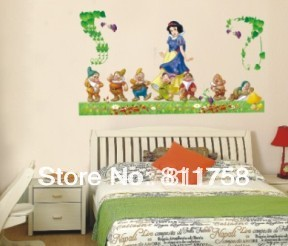 Free shipping!! 60*120cm  New fashion removable cartoon princess wall decals kids room