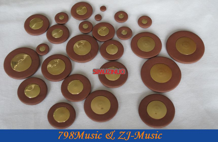 New High Grade 25pcs Coffee Tenor Saxophone Leather Pad Set Musical Instrument Metal Reflection plate<br><br>Aliexpress