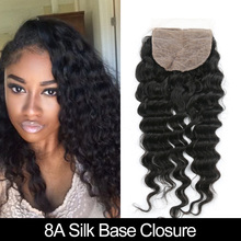 8A Indian Deep Wave Silk Base Closure 100% Unprocessed Human Hair Silk Top Closure 4*4 Free Middle 3 Part Bleached Knots