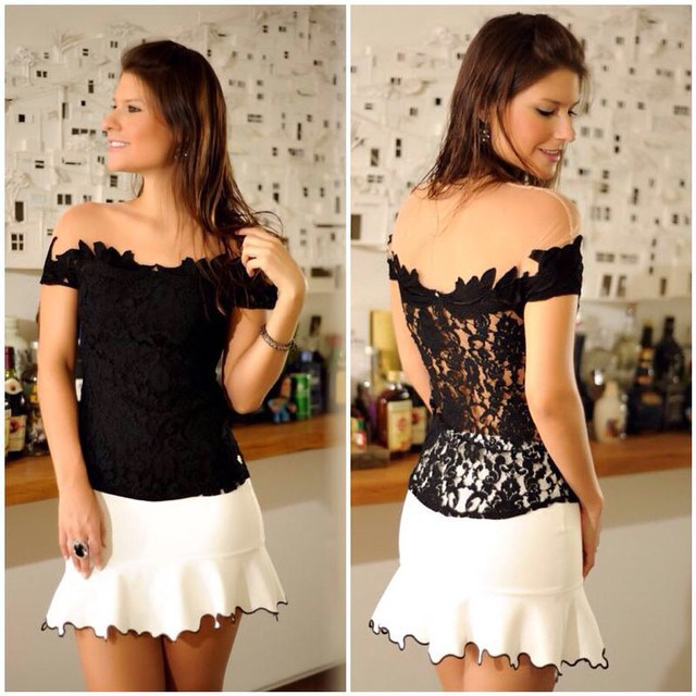 2015 New autumn ladies crochet blouse lace sheer shirts casual tops women clothing blusas renda sexy black blouses plus size(China (Mainland))