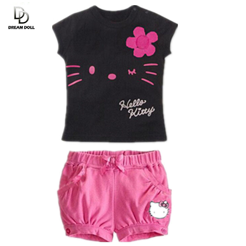Retail 2015 children girls clothing set Summer hello kitty cute pajamas costume baby kids child cartoon clothes sets suits(China (Mainland))