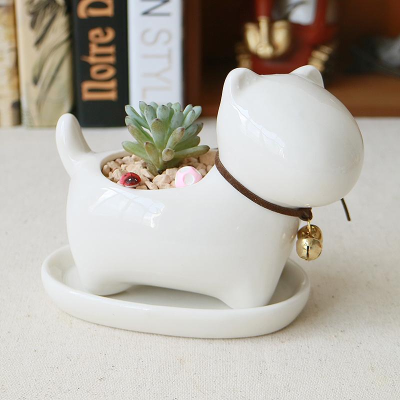 Top Quality Ceramic Flowerpot Little Animals Dog Planter Cute White Jardin Bonsai Succulent Plants Flower Pot For Sale(China (Mainland))