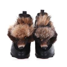 Hecho a mano Botas de cuero plena flor Blanco Negro Slip-on Botas de Nieve Redondo para Las Mujeres Planas con botas de Tobillo de Mujer zapatos d991(China (Mainland))