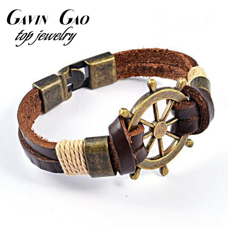 High-Quality-New-2015-Fashion-Jewelry-Vintage-Stainless-Steel-Rudder-Charm-Genuine-Cow-Leather-Bracelet-For