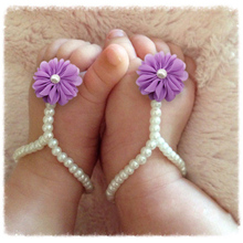 New Pearl Chiffon Barefoot Toddler Flower Beach Sandals Anklet chain summer sandals for toddler  girls baby floral shoe YE01128(China (Mainland))