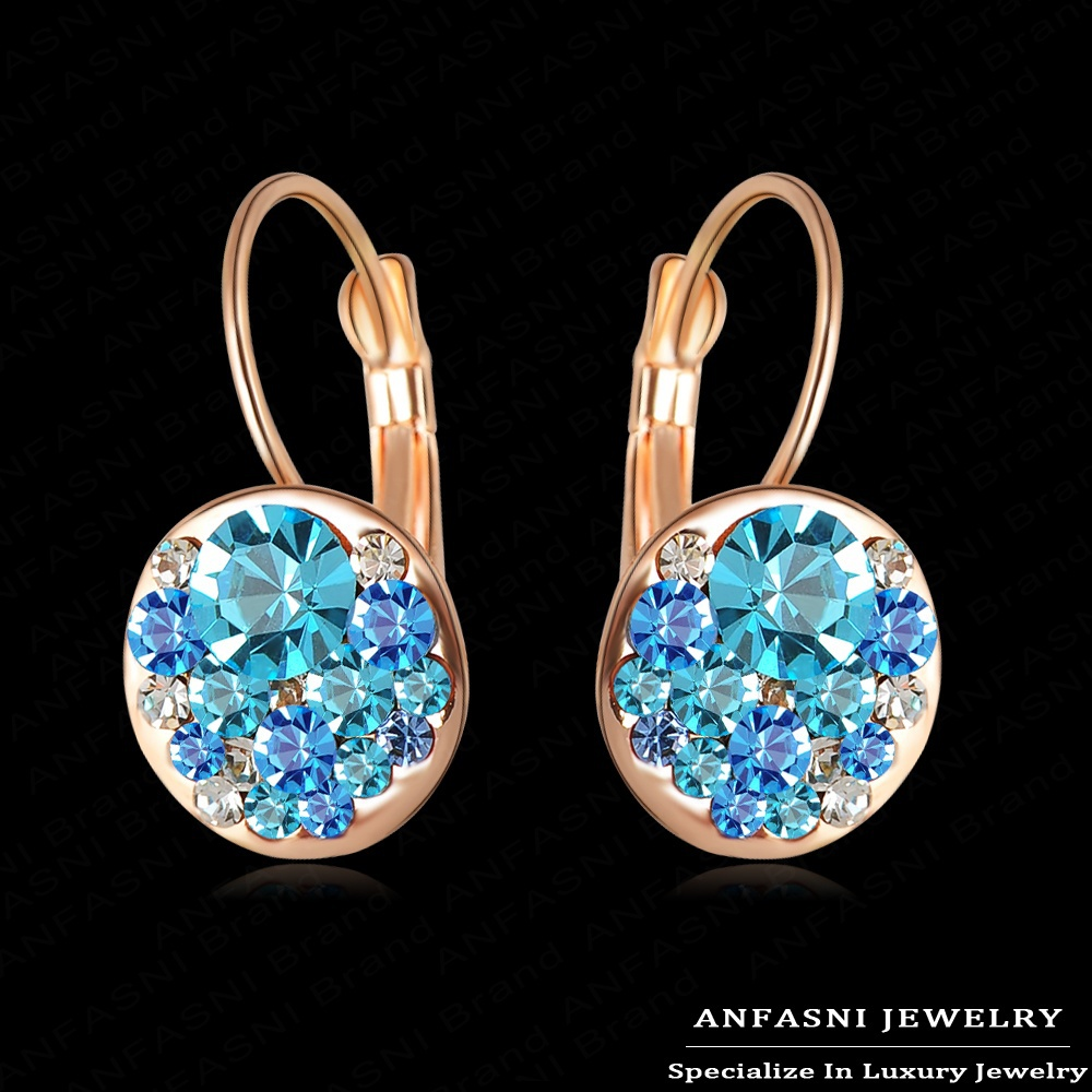 2014 New Arrival Earrings Studs18K Rose Gold Plated With Austrian Crystals Cute Round Bridal Earrings For Women ER0118(China (Mainland))