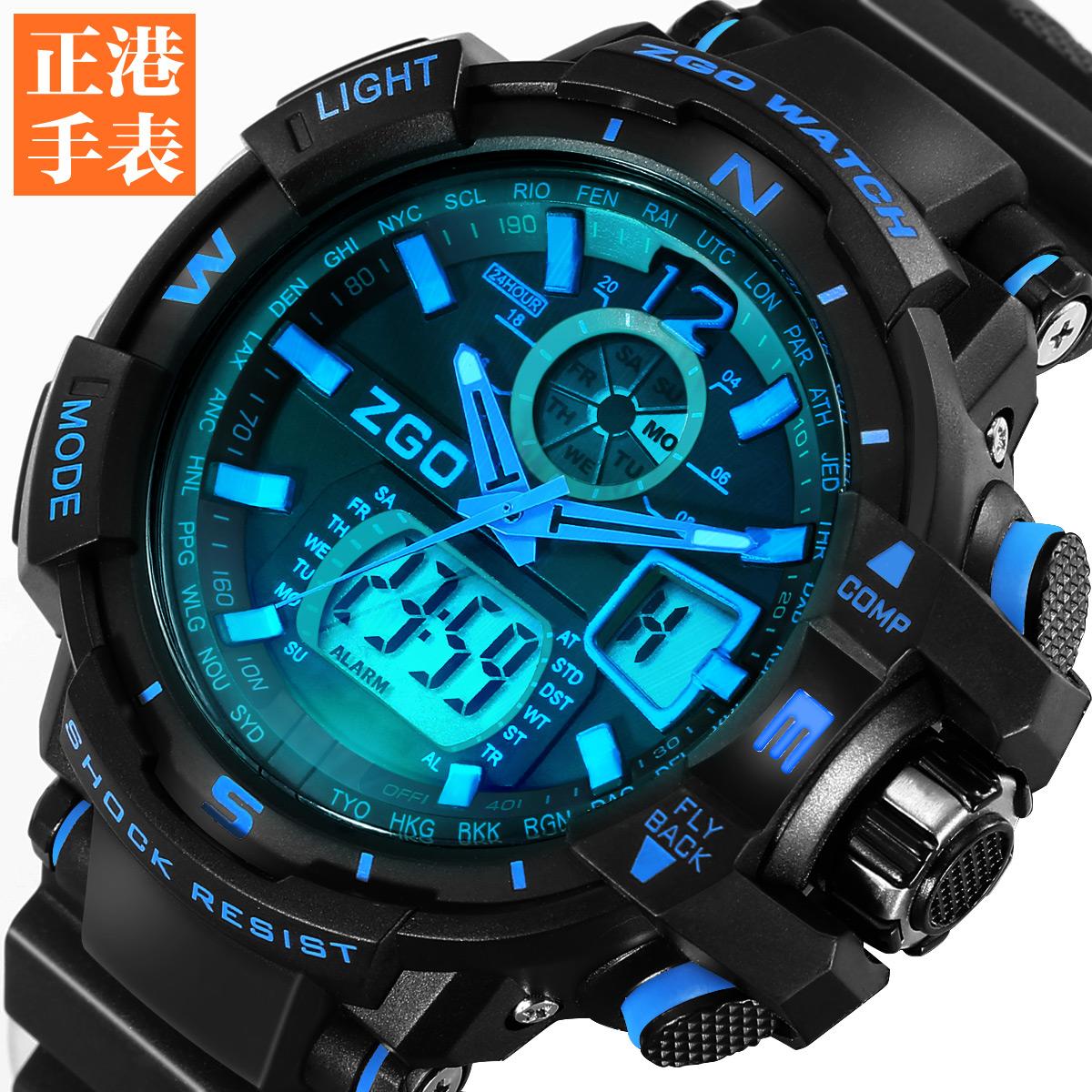 2015 New Fashion Men Glow Led Watches Men's Quartz Hour Clock Analog Digital LED Watch Sports Military Wrist Watch 99 g + box(China (Mainland))