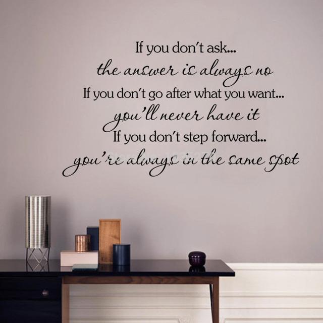 """Вдохновляющие цитаты наклейки стены съемный наклейка главная декор """" если вы не хожу после вы хотите, вы никогда не будете иметь его """""""
