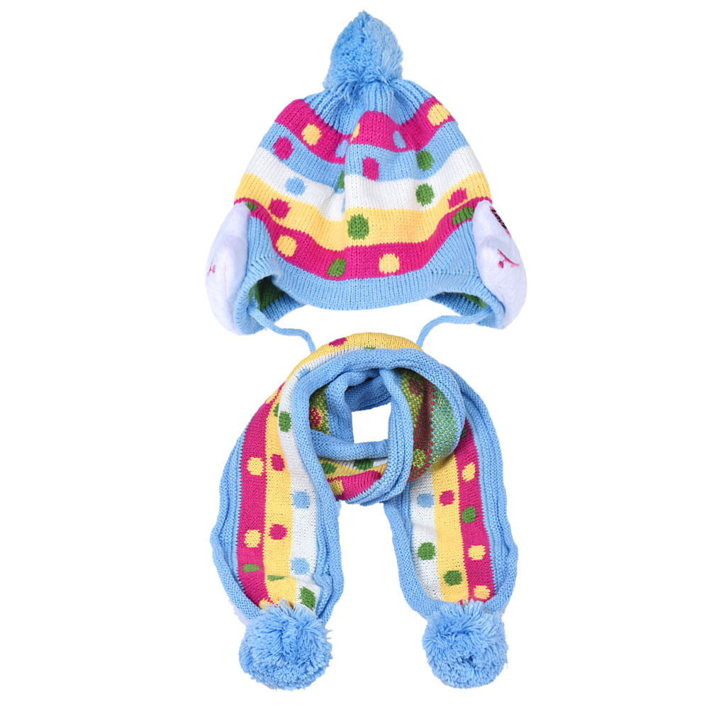 2015 New Fashion Winter Toddler Infant Baby Kid Warm Plush Beanie Hat Head Cap Scarf Sets Free Shipping