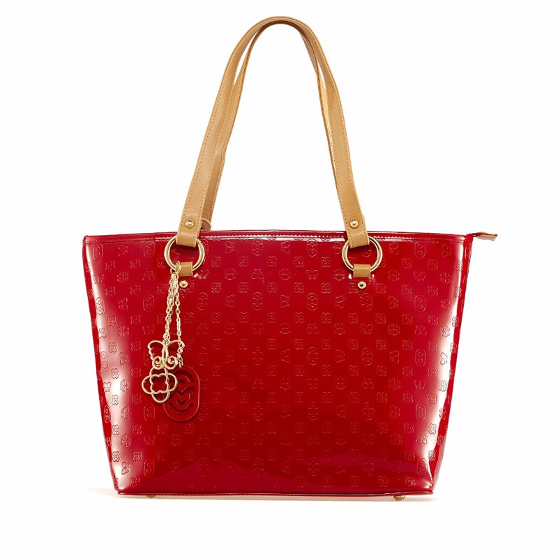 Bright Red  Embossing Tote Bag Women Large Capacity Hand Bag Stylish Contrast Color High Quality Ladies Panelled Shoulder Bag