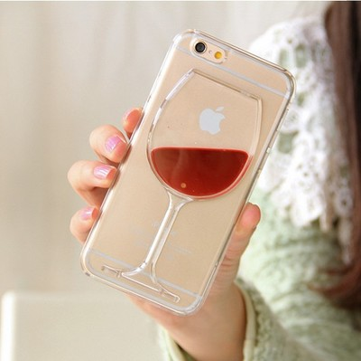 Hot sale Red Wine Cup Liquid Transparent Case Cover For Apple iPhoneSE 5 5S 6 6 Plus All Models Phone Cases Back Covers(China (Mainland))