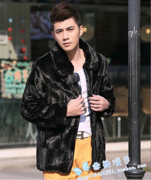 European and american minimalist style men fur jacket high quality fur trench coat men slim chaqueta hombre men's clothing /MY5