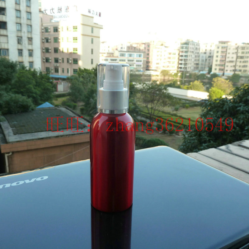 120ml aluminum red bottle With (white plastic + silver aluminum) pump.for lotion and essential oil. lotion cream packing<br><br>Aliexpress