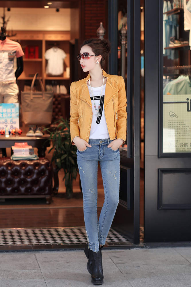 2016 women PU leather black jacket fashion design spring autumn women faux leather short coat yellow blue color