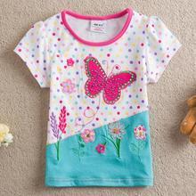 One Pcs NEAT Kids 2014 new free shipping Diamond butterfly baby girls short sleeve t shirts