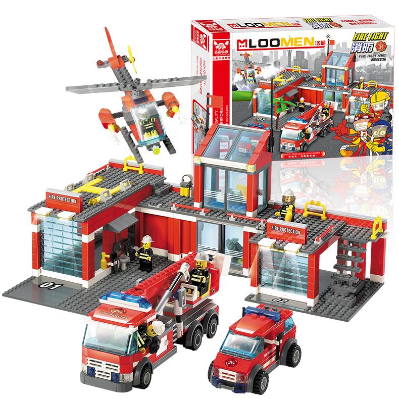 774 PCS/set 2016 New Arrival sale 2016 City Fire Station Truck Helicopter Firefighter Minifigure Building Blocks Bricks Toys<br><br>Aliexpress