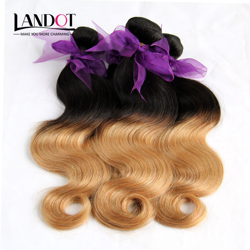 Ombre Peruvian Virgin Hair Body Wave Human Hair Weave Bundles Two Tone 1B/27# Blonde Peruvian Hair Extension Landot Hair Product(China (Mainland))
